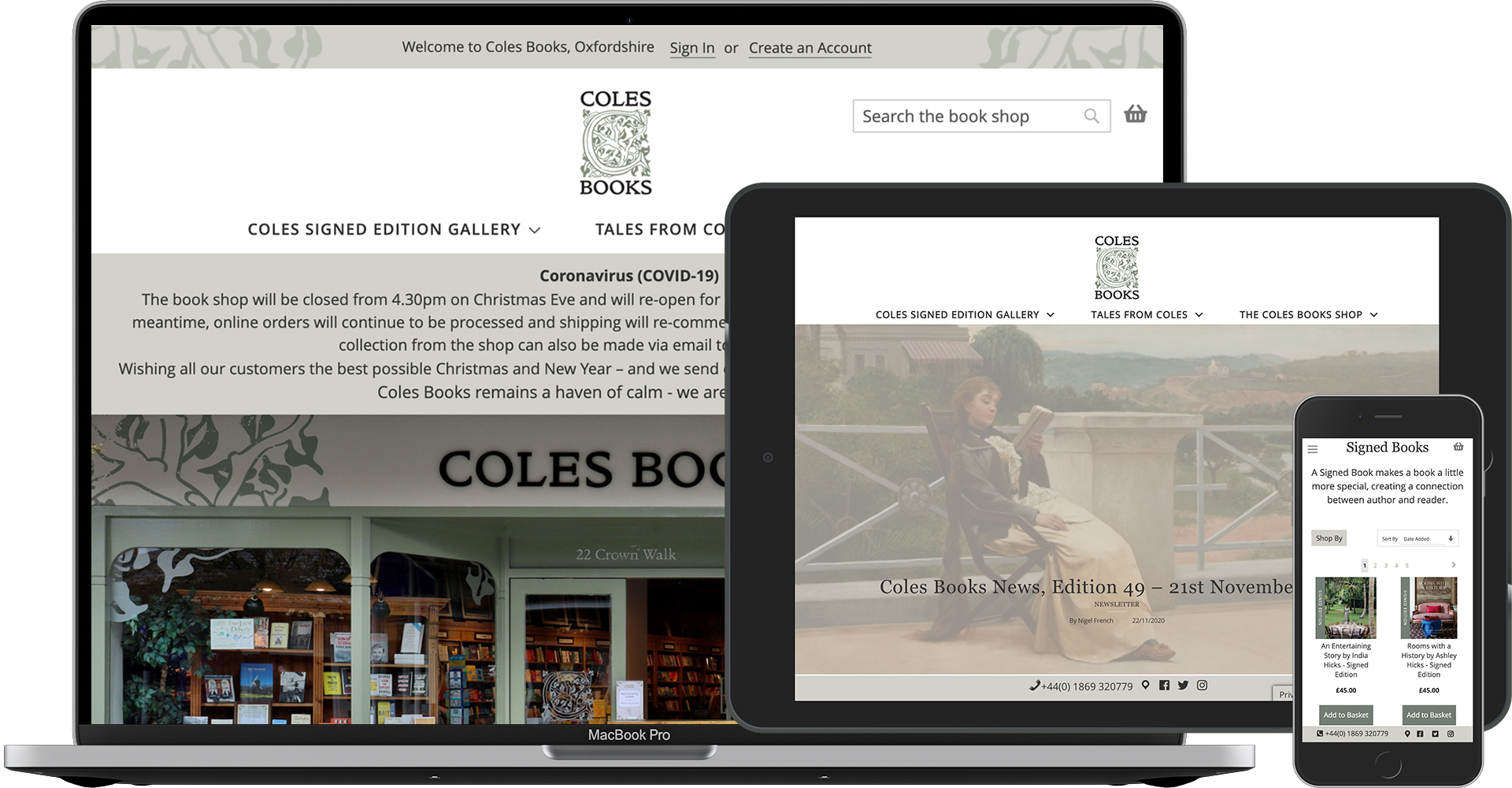 Cole's Books, eCommerce website